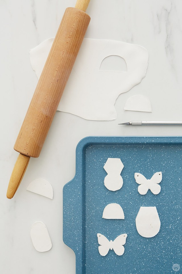baking the clay pins for the DIY Clay gift attachments | thinkmakeshareblog.com