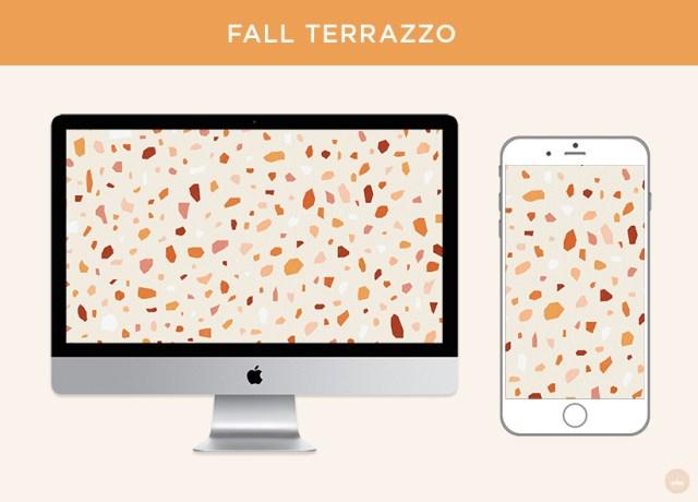 Free November 2018 digital wallpapers: Fall Terrazzo