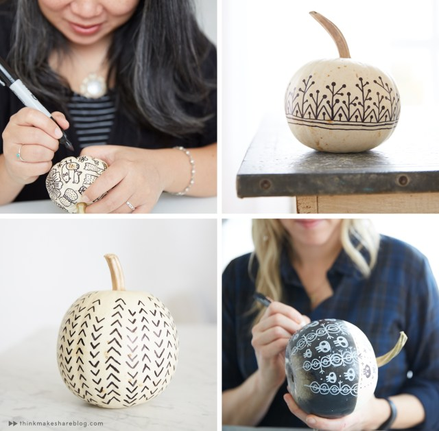 DIY Halloween craft: Decorating pumpkins with black and white designs.
