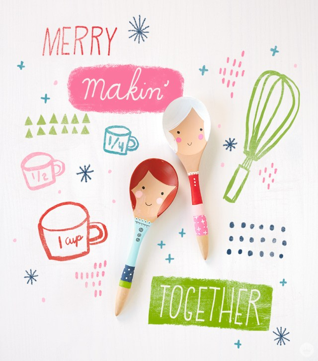 Christmas themed wooden spoons, Christmas themed painted wooden objects.
