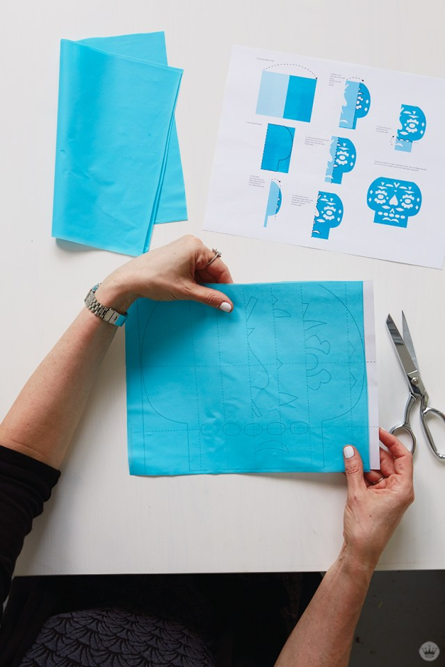 DIY Papel Picado: Sheet of plastic placed over template.