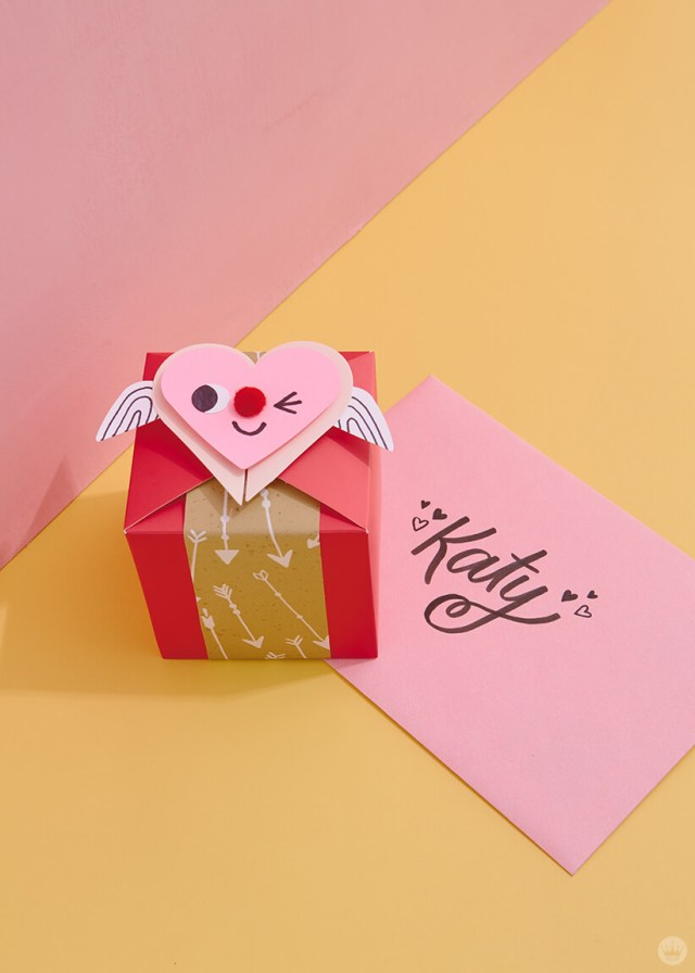 one decorated gift box with a hand-lettered envelope to Katy | thinkmakeshareblog.com