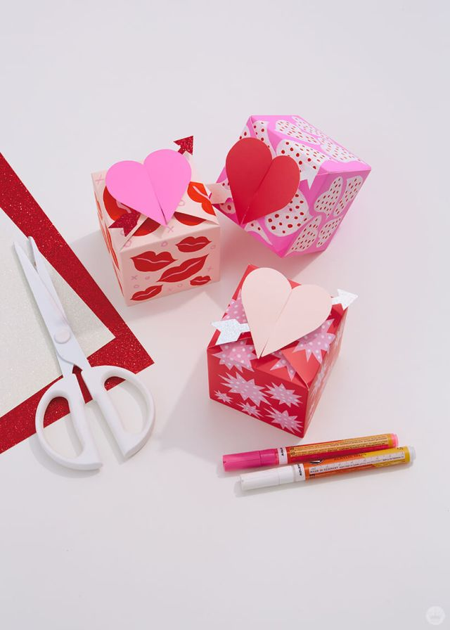 decorated paper wonder gift boxes with the supplies used | thinkmakeshareblog.com