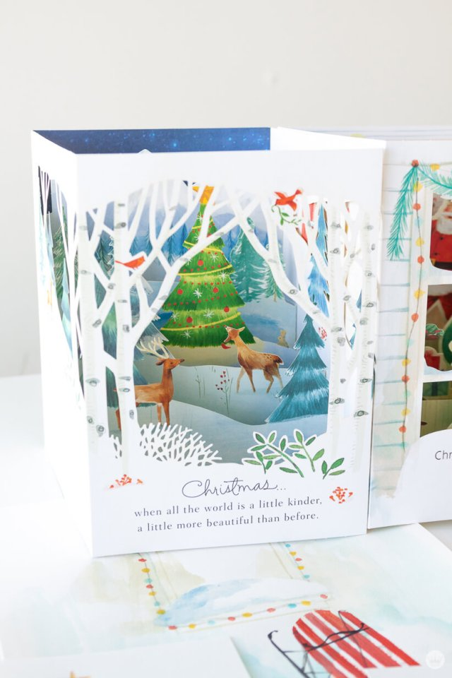 Snowy scene with a deer and a Christmas tree on a Paper Wonder card | thinkmakeshareblog.com