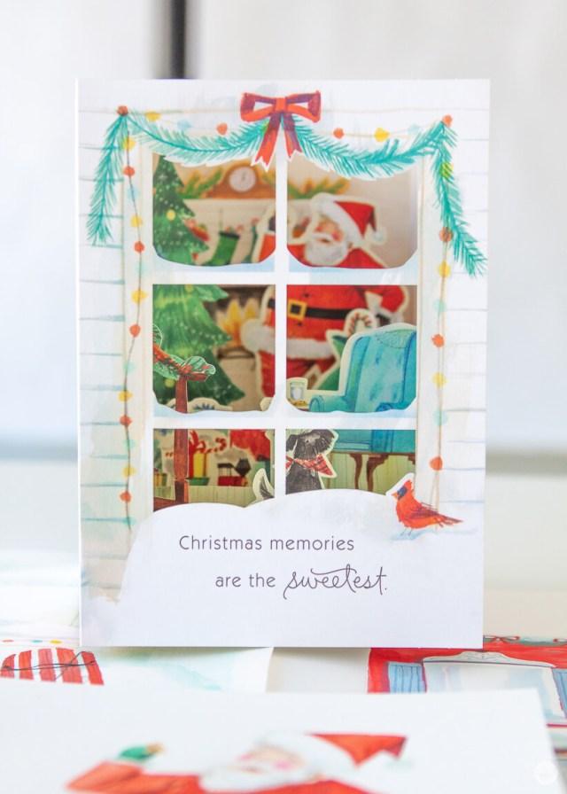 Paper Wonder card featuring Santa eating Christmas cookies | thinkmakeshareblog.com