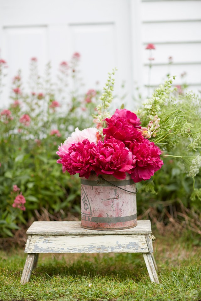 A bucket of peonies on a wooden stepstool.