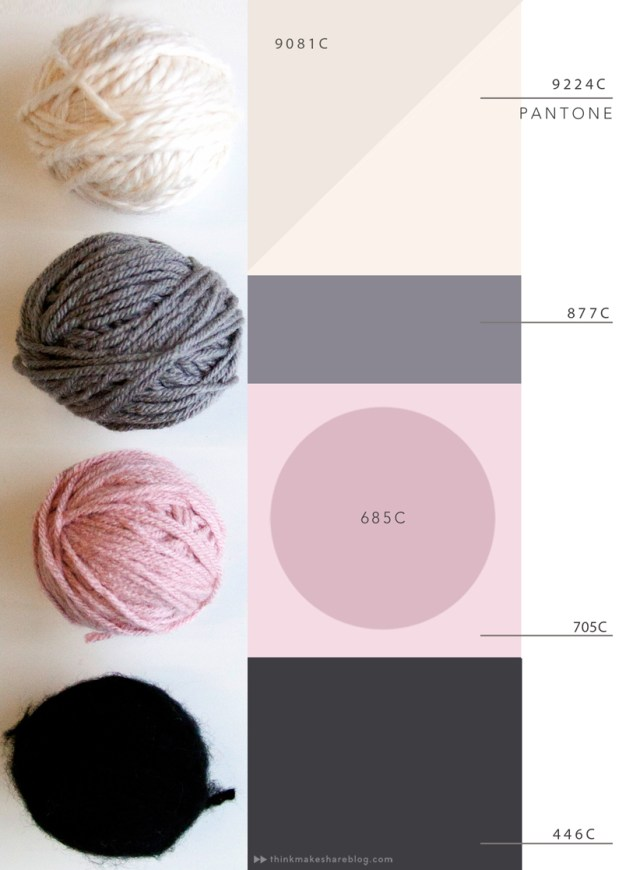 2015 spring color palettes: off white, dark gray, pink, and black.