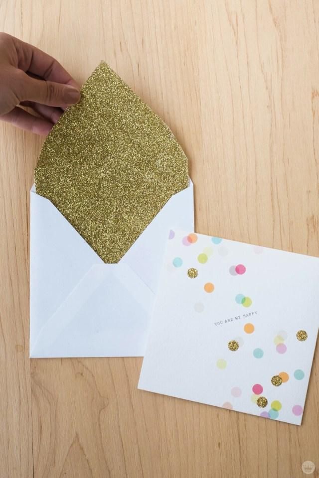 Envelope art: Glitter-covered envelope liner and matching card