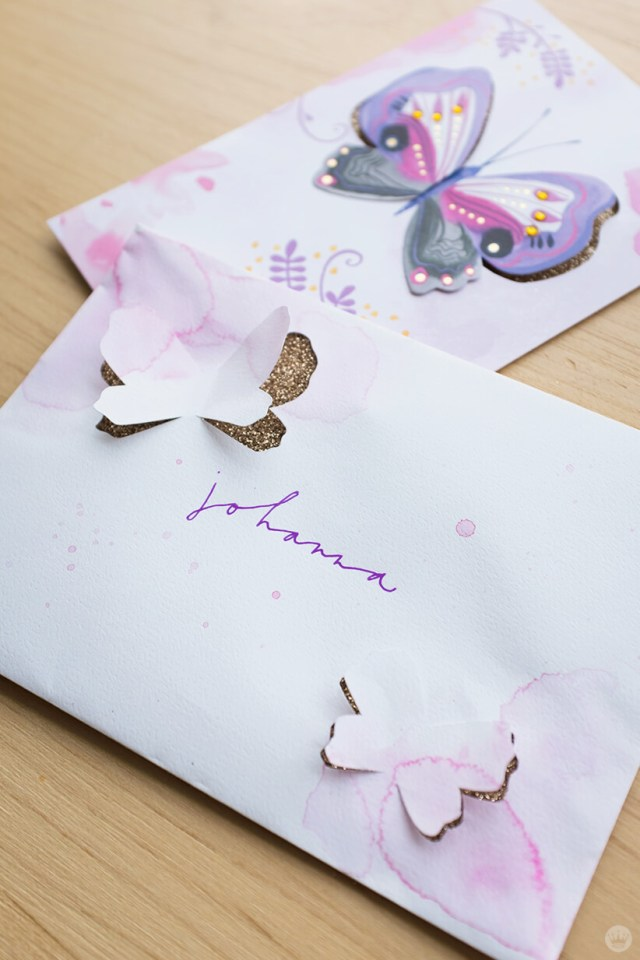 Mail art: 3D Watercolor butterfly with glitter-covered envelope liner, shown with matching card