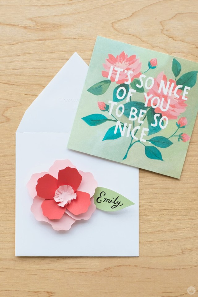 Envelope Art 3D Paper Flower To Match Floral Design Card