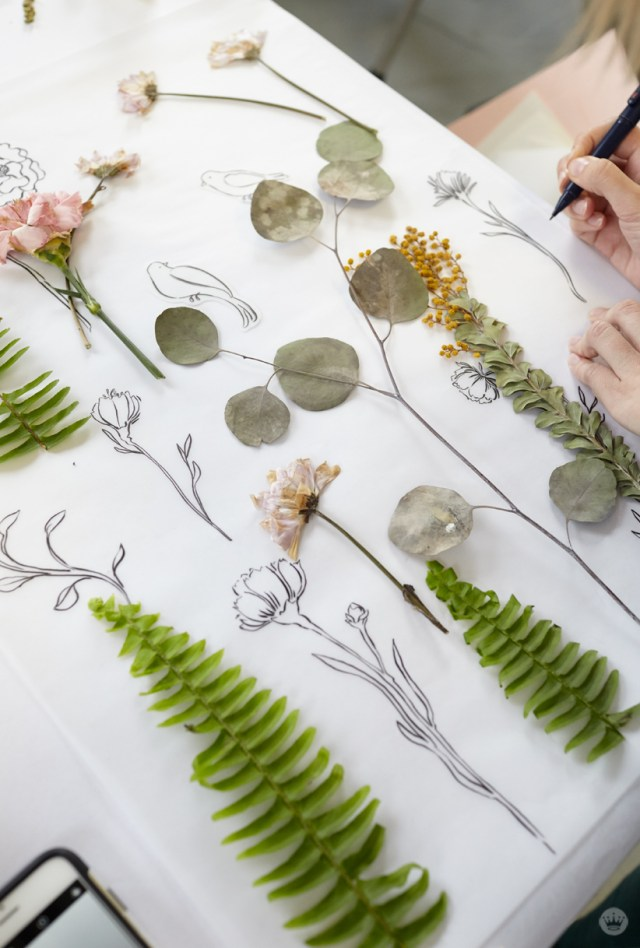 Pressed flower idea: Add illustrations to a design featuring real plants and flowers
