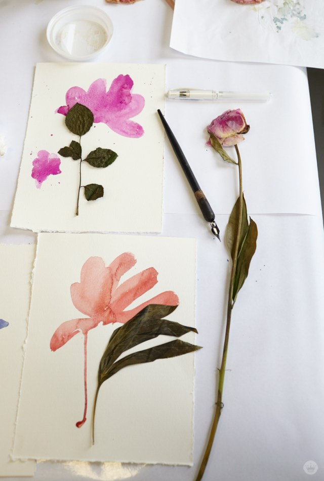 Pressed flower idea: Combine painted and real florals