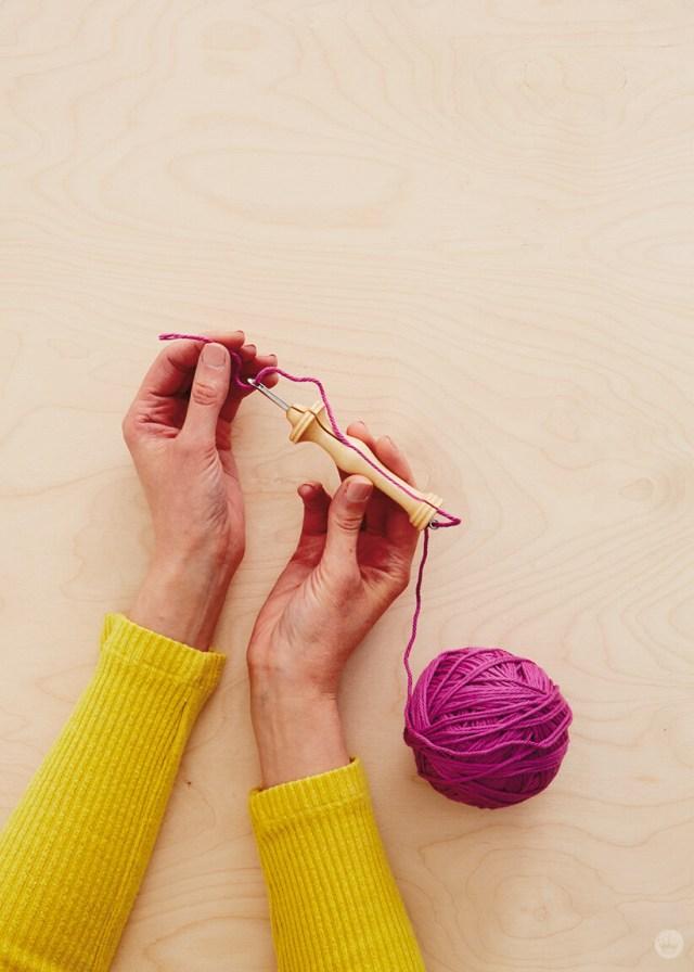 Threading an Oxford needle for needle punching | thinkmakeshareblog.com