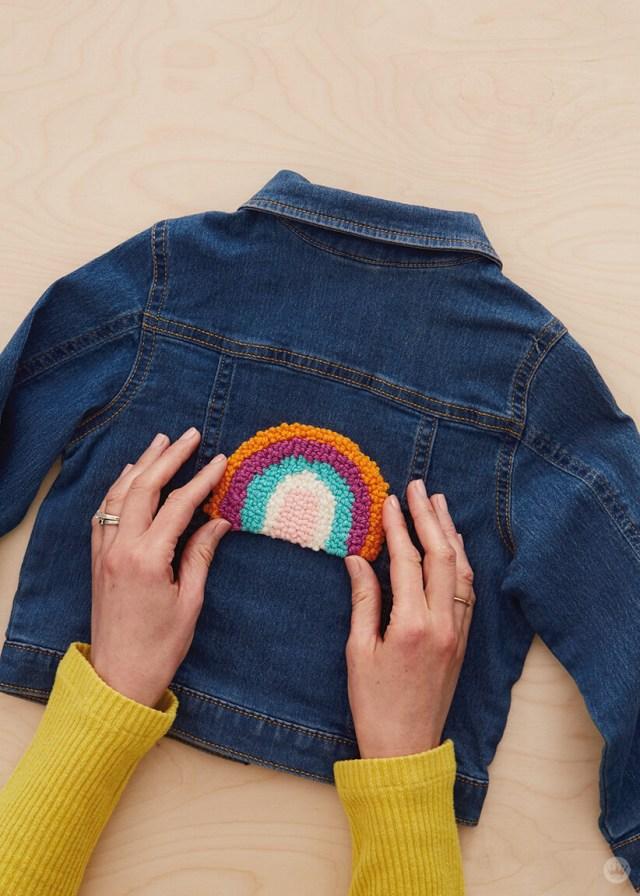 Punch Needle patch on a denim jacket | thinkmakeshareblog.com