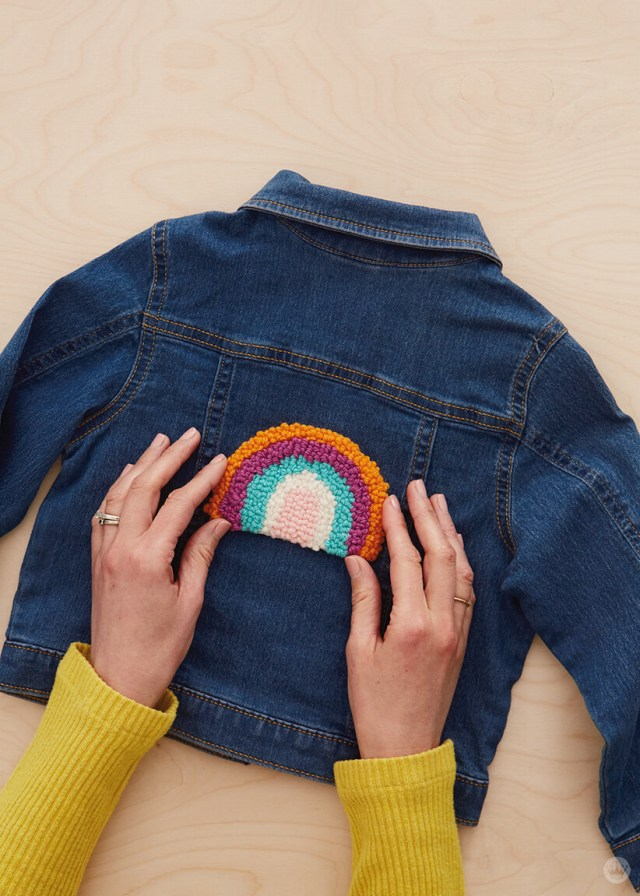 Punch Needle patch on a denim jacket | thinkmakeshareblog.com