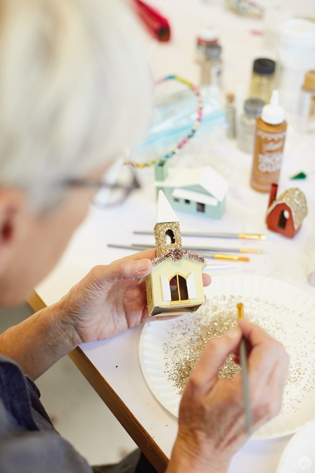 "Making glitter houses, or ""putz houses"""