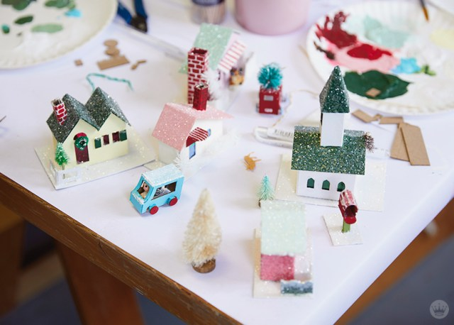 "A village-worth of glitter houses, or ""putz houses"""