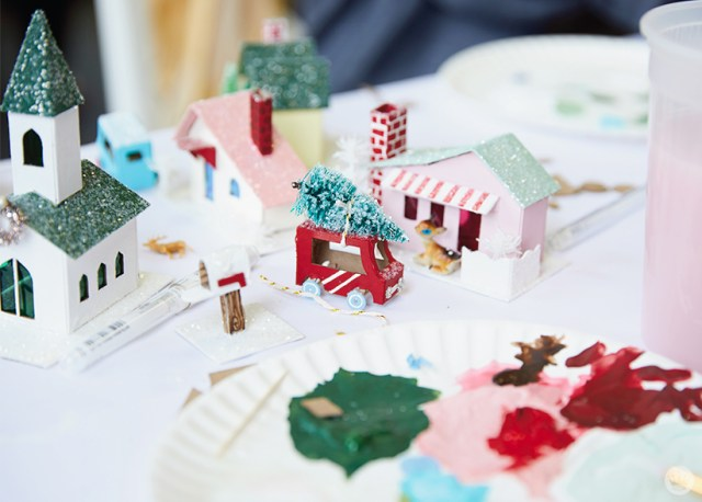 """A village of glitter houses, or """"putz houses"""""""