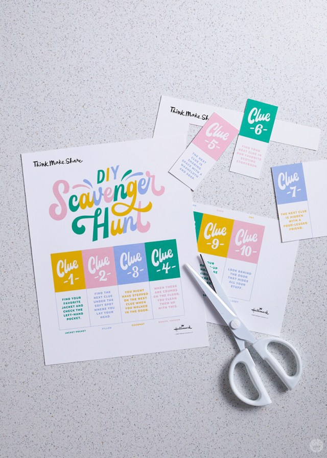 DIY Scavenger Hunt printable being cut out | thinkmakeshareblog.com