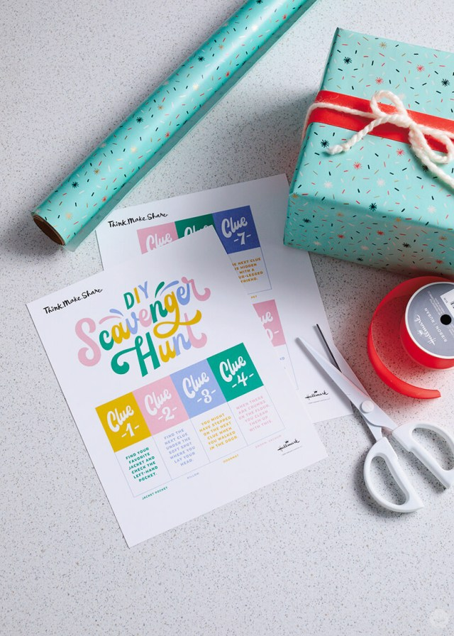 DIY Scavenger Hunt printable with scissors, roll wrap, a gift and ribbon | thinkmakeshareblog.com
