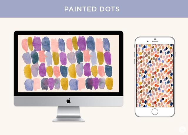 Free September digital wallpapers: Painted Dots displayed on desktop and phone screen