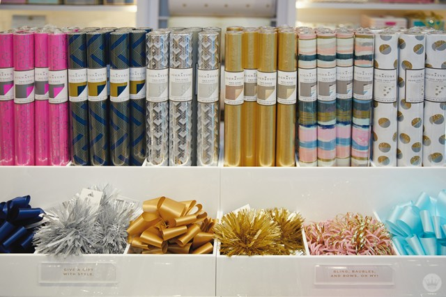 Gift wrap display at the new Hallmark Signature Store in Santa Monica, CA