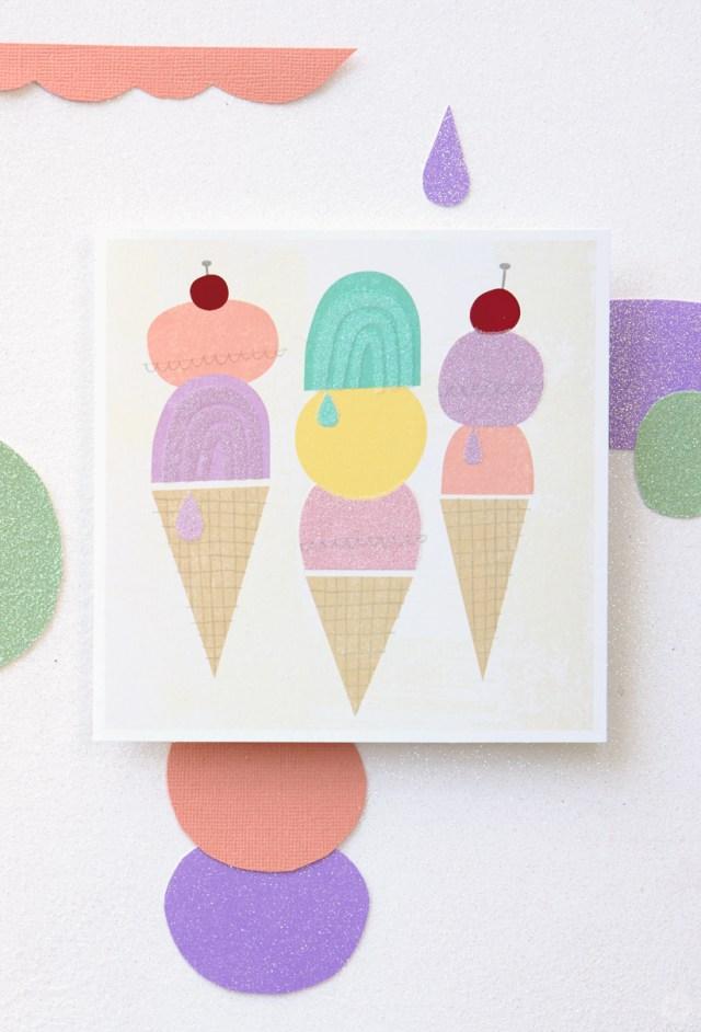 Card featuring graphic pastel ice cream cone designs