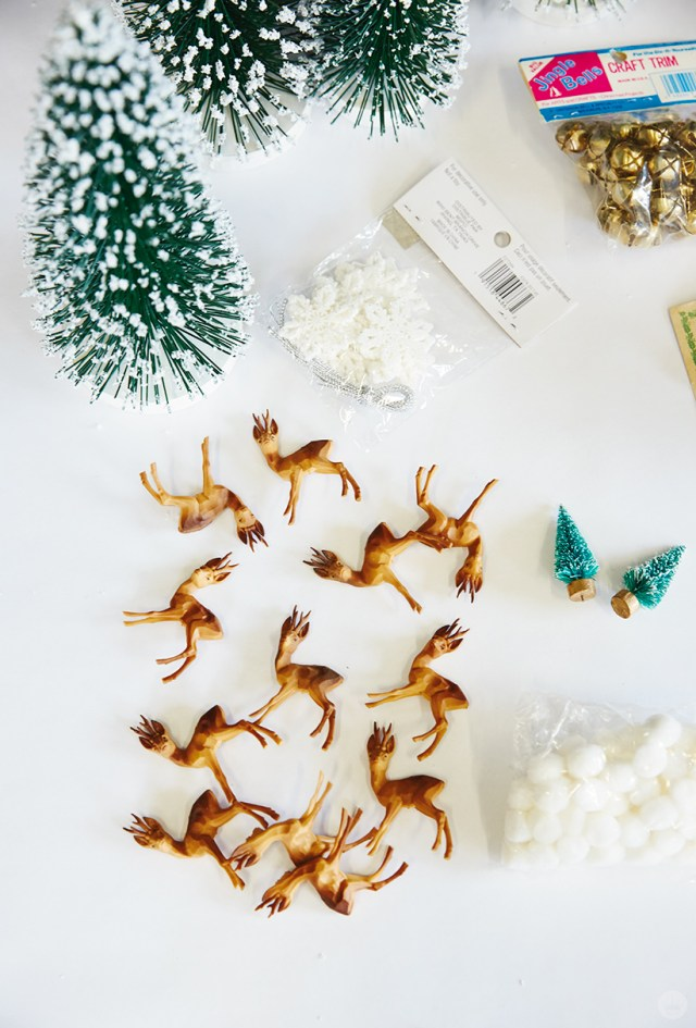 DIY Christmas snow globe supplies