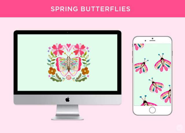 Free April 2018 Digital Wallpapers: Spring Butterflies design shown on desktop and mobile