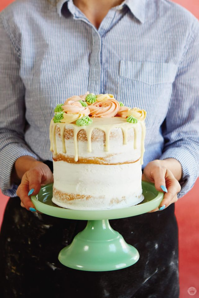 Drip cake with buttercream rosettes