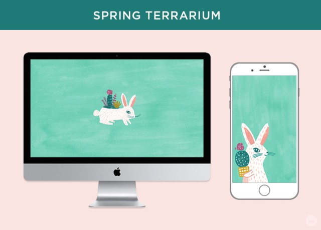 Free digital March wallpapers: Spring Terrarium