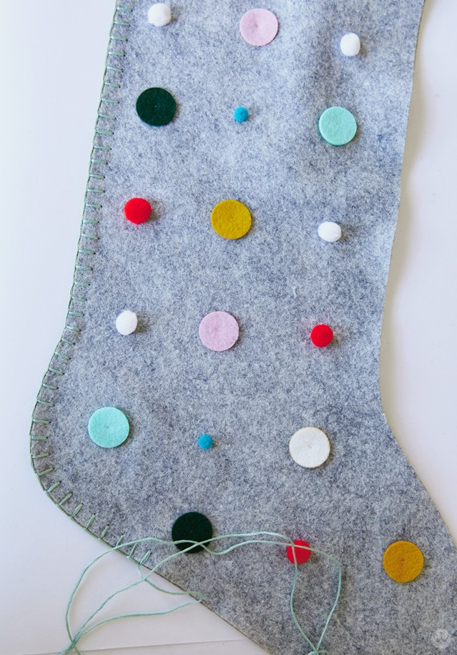 Gray stocking covered with polka dots