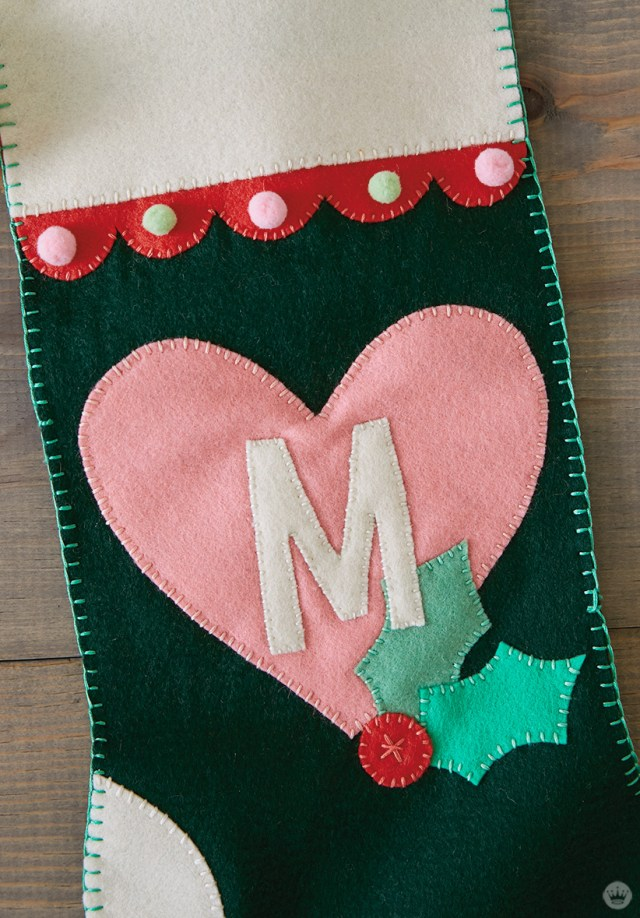 DIY Christmas stocking with a heart and letter M