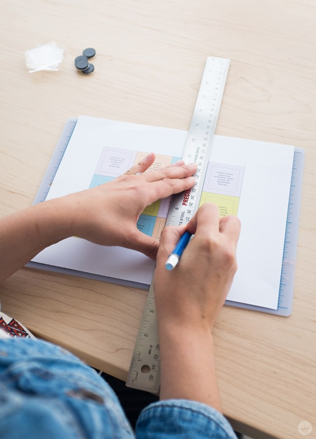 Cutting out magnet designs using craft knife and ruler