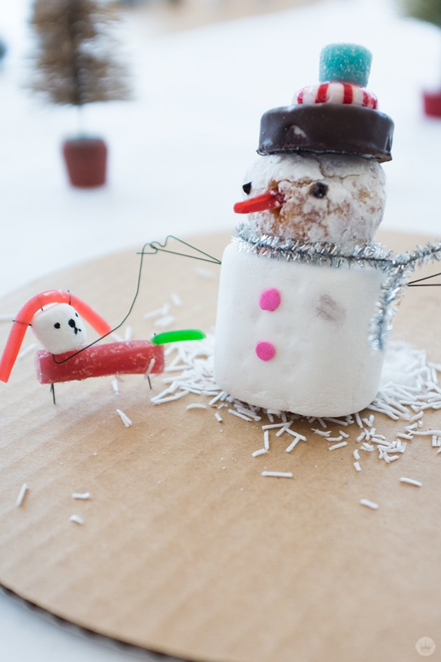 Candy snowman and dog