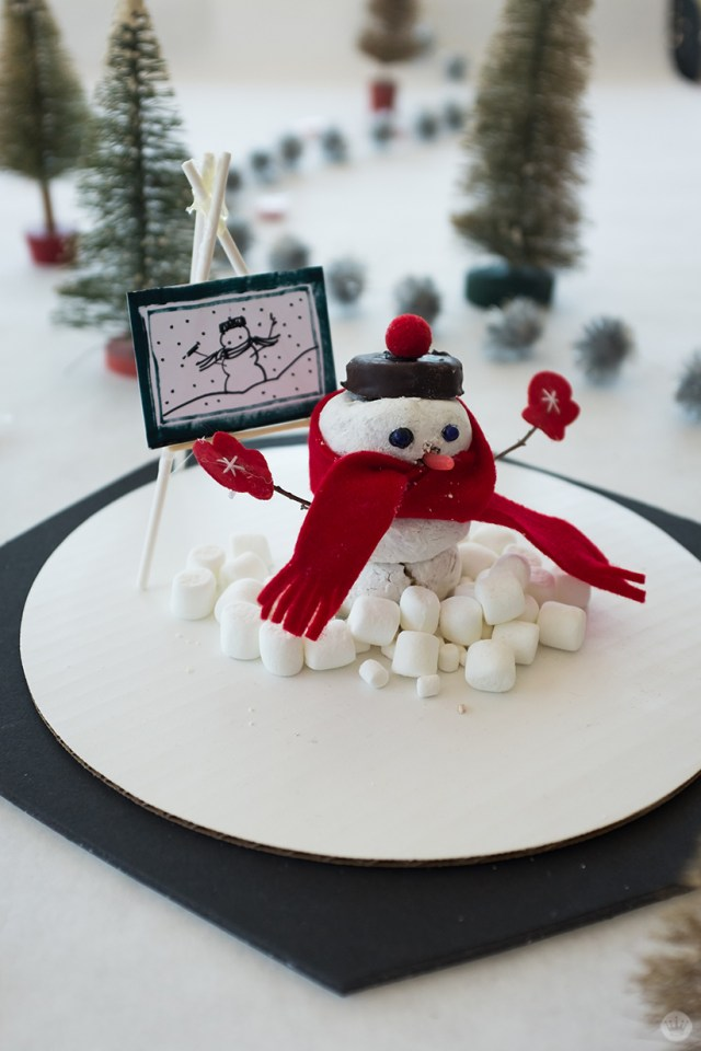 Marshmallow snow artists with selfie