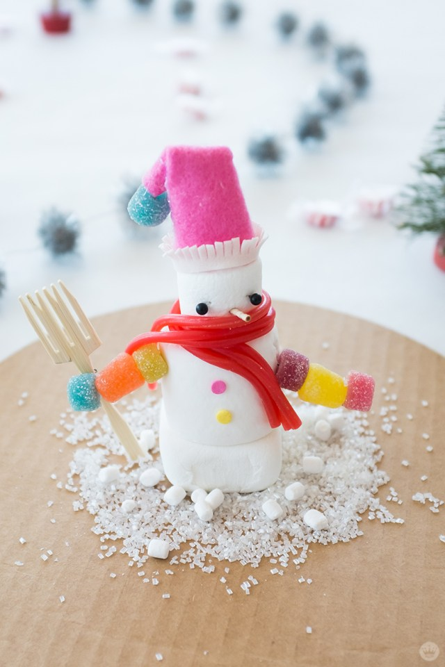 Marshmallow snowman with gumdrop sleeves