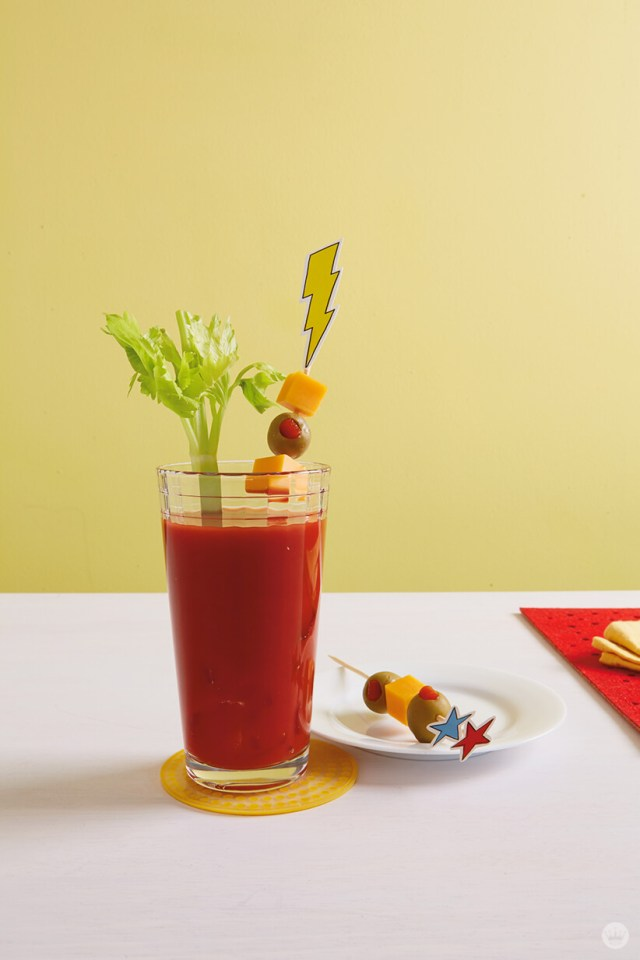 Bloody Mary with superhero toppers