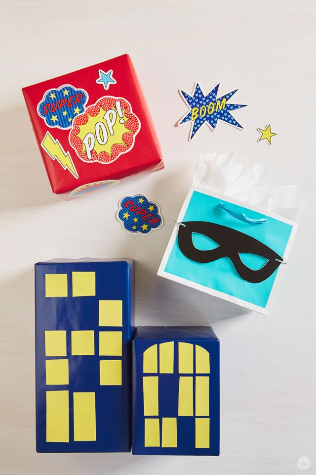 Superhero toppers for gifts
