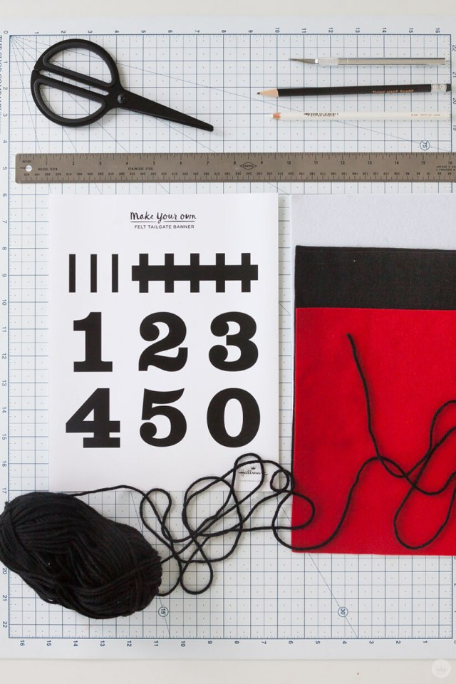 DIY Felt Pennant Banner supplies: scissors, craft knife, pencils, ruler, printed template, felt, yarn