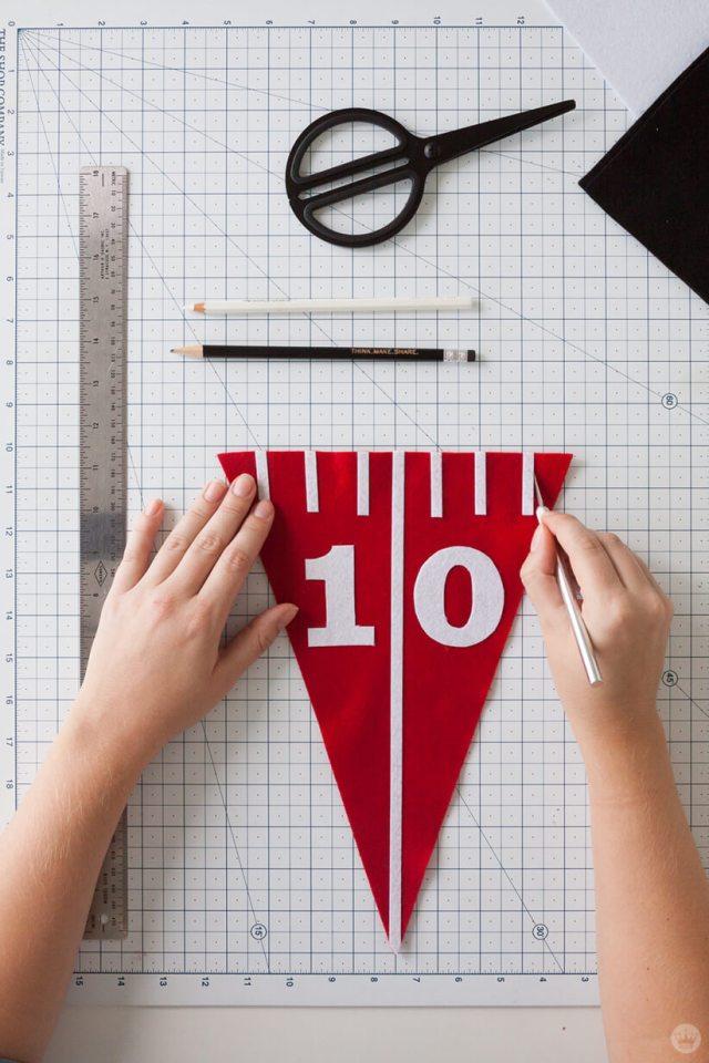 Adding hashmarks to a DIY Felt Pennant Banner