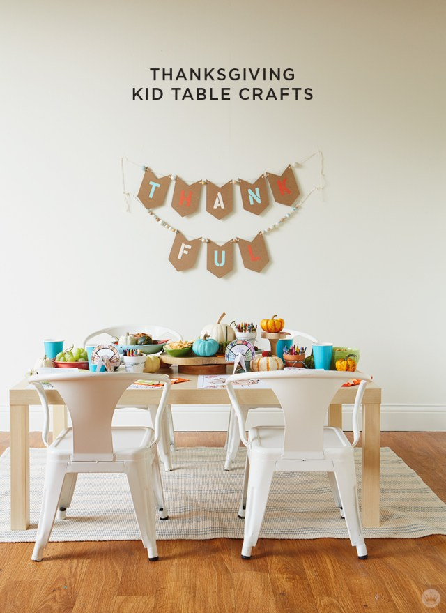 """thanksgiving kids' table crafts: Kids table set with activities and """"thankful"""" garland"""