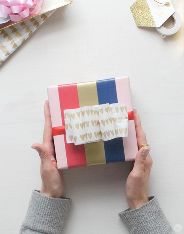 Tissue Paper Giftwrap Ideas | thinkmakeshareblog.com