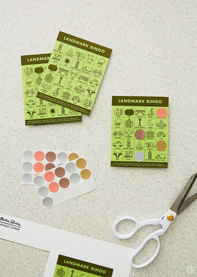 DIY travel games: Free downloadable Landmark Bingo cards with dot stickers and scissors