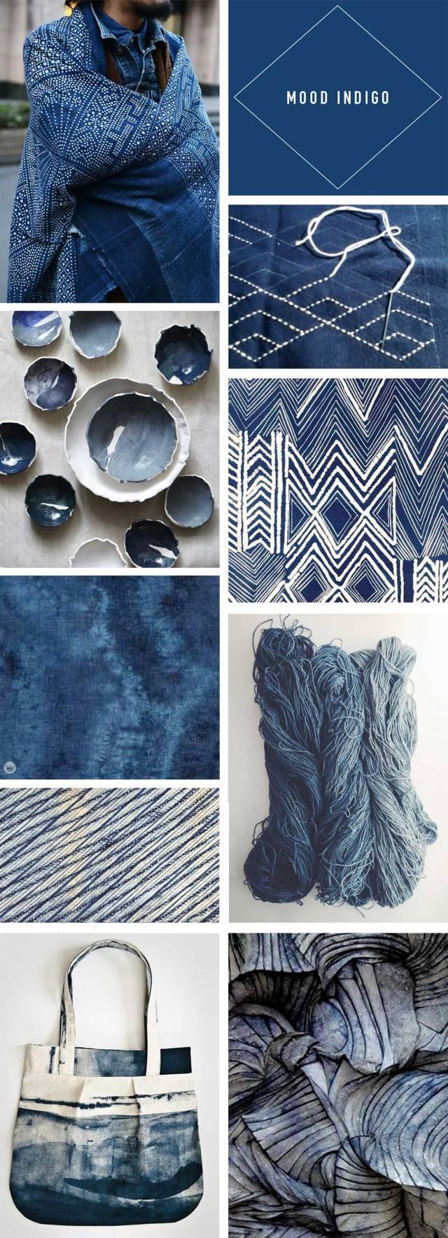 Indigo trend story: Fashion, décor, design, and craft.