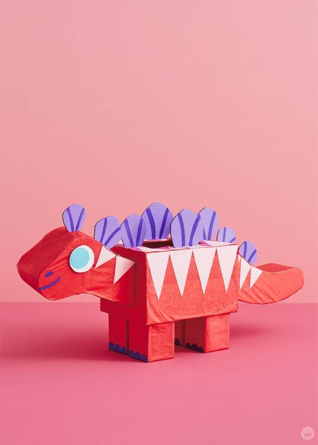 Valentine's Day mailbox: Red dinosaur with purple plates and pink stripes | thinkmakeshareblog.com