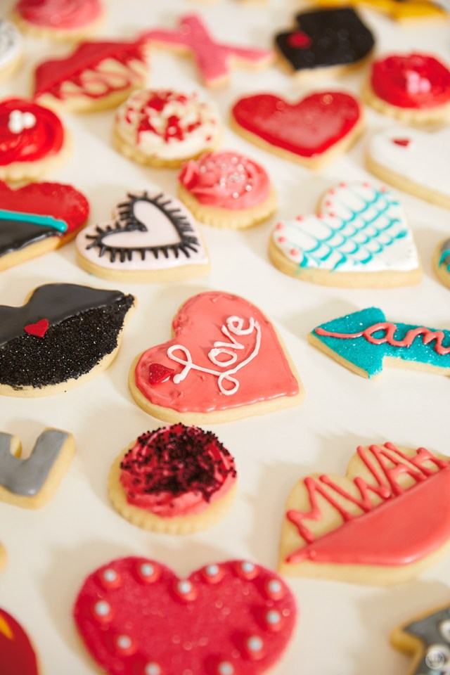 Valentine's Day cookie decorating workshop cookies by Hallmark artists