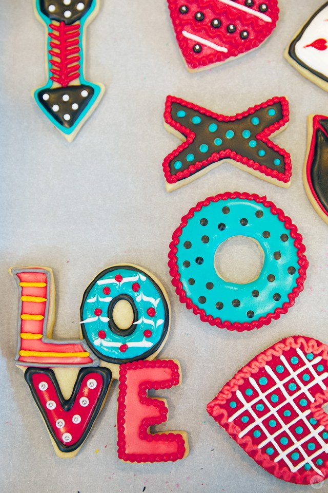 Valentine's Day Cookie Decorating workshop cookies