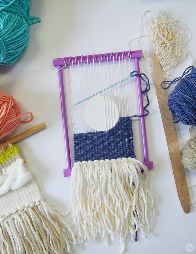 Weaving workshop: fiber art in process. weaving around shapes.