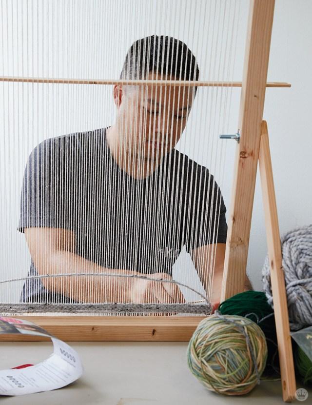 Weaving workshop: hallmark artists creates fiber art on large loom
